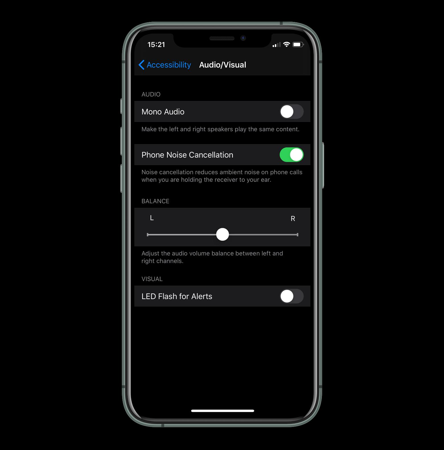 stereo balance on an iOS device