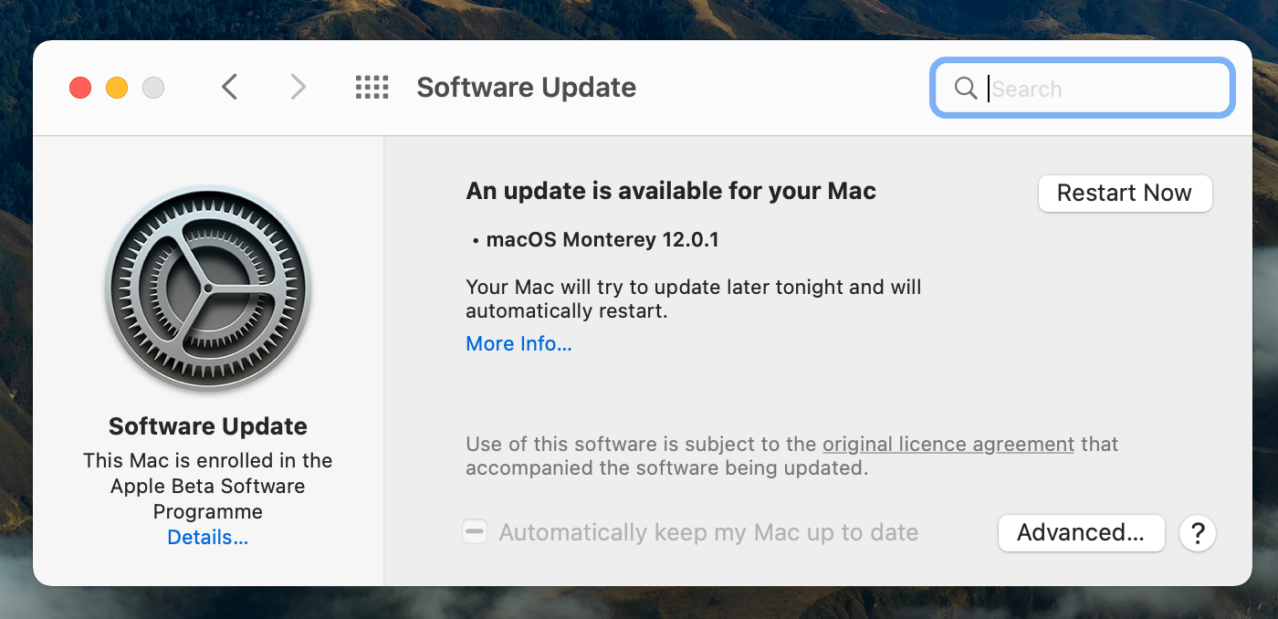 Update macOS in About This Mac