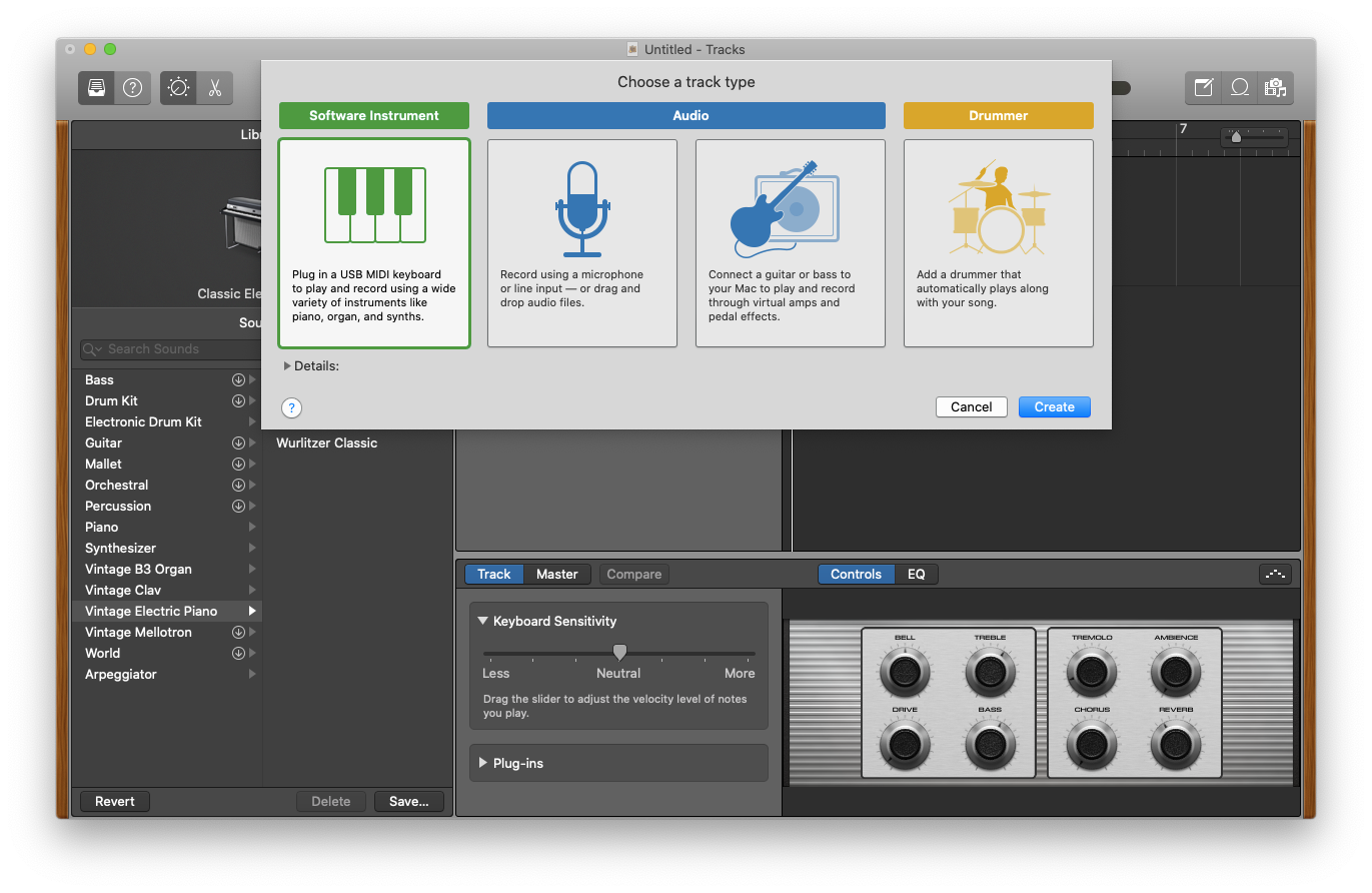 add new instrument GarageBand Mac