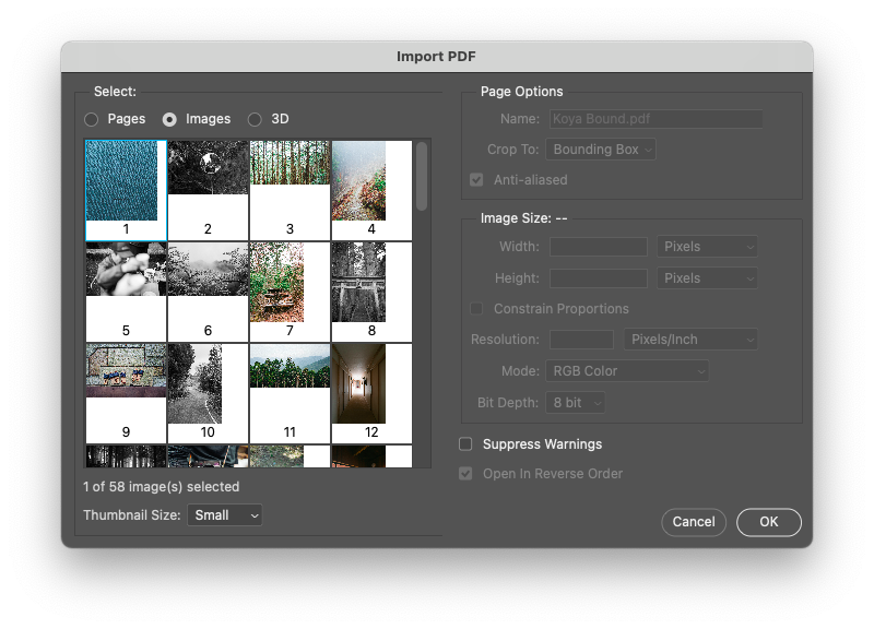 extract images from PDF using Adobe Photoshop