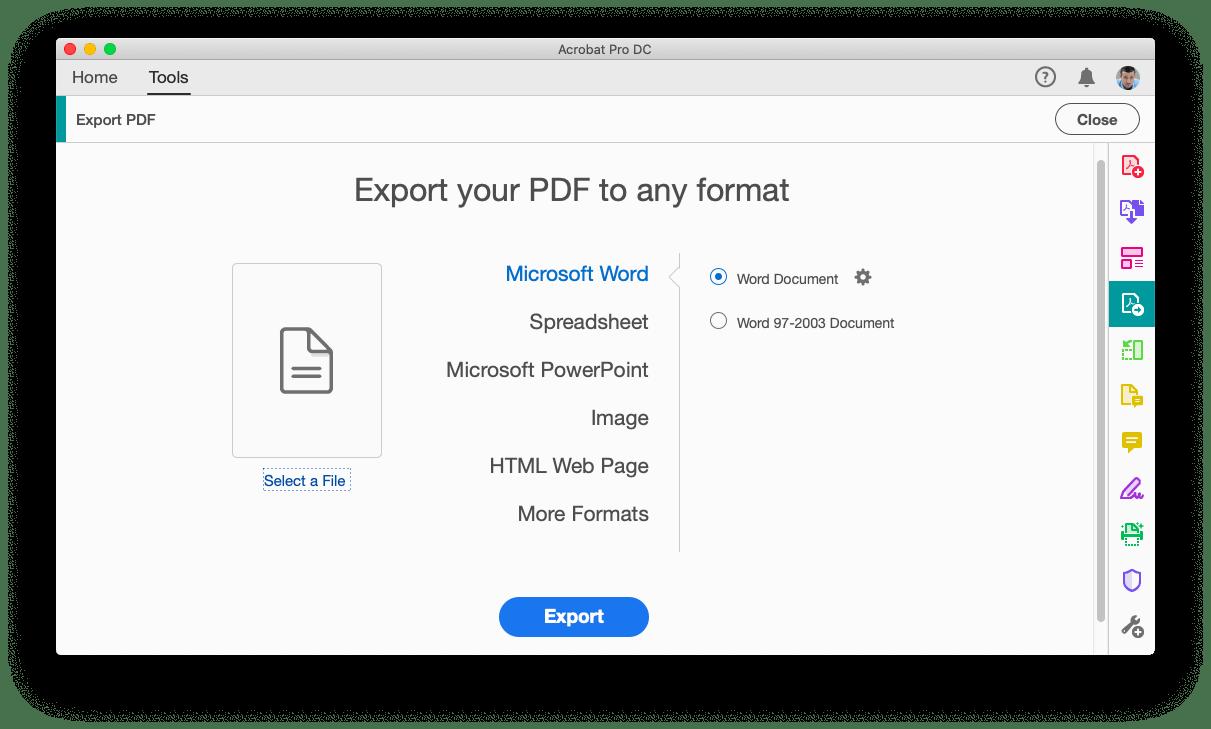 تصدير من ملف PDF باستخدام Adobe Acrobat Pro