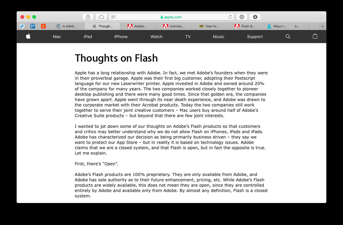 Adobe Flash Steve Jobs