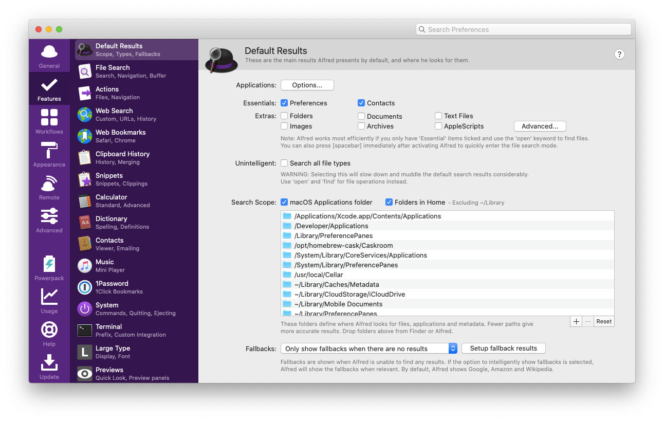 Alfred preferences search Mac app
