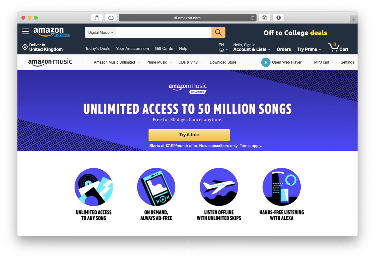 Amazon Music unlimited service