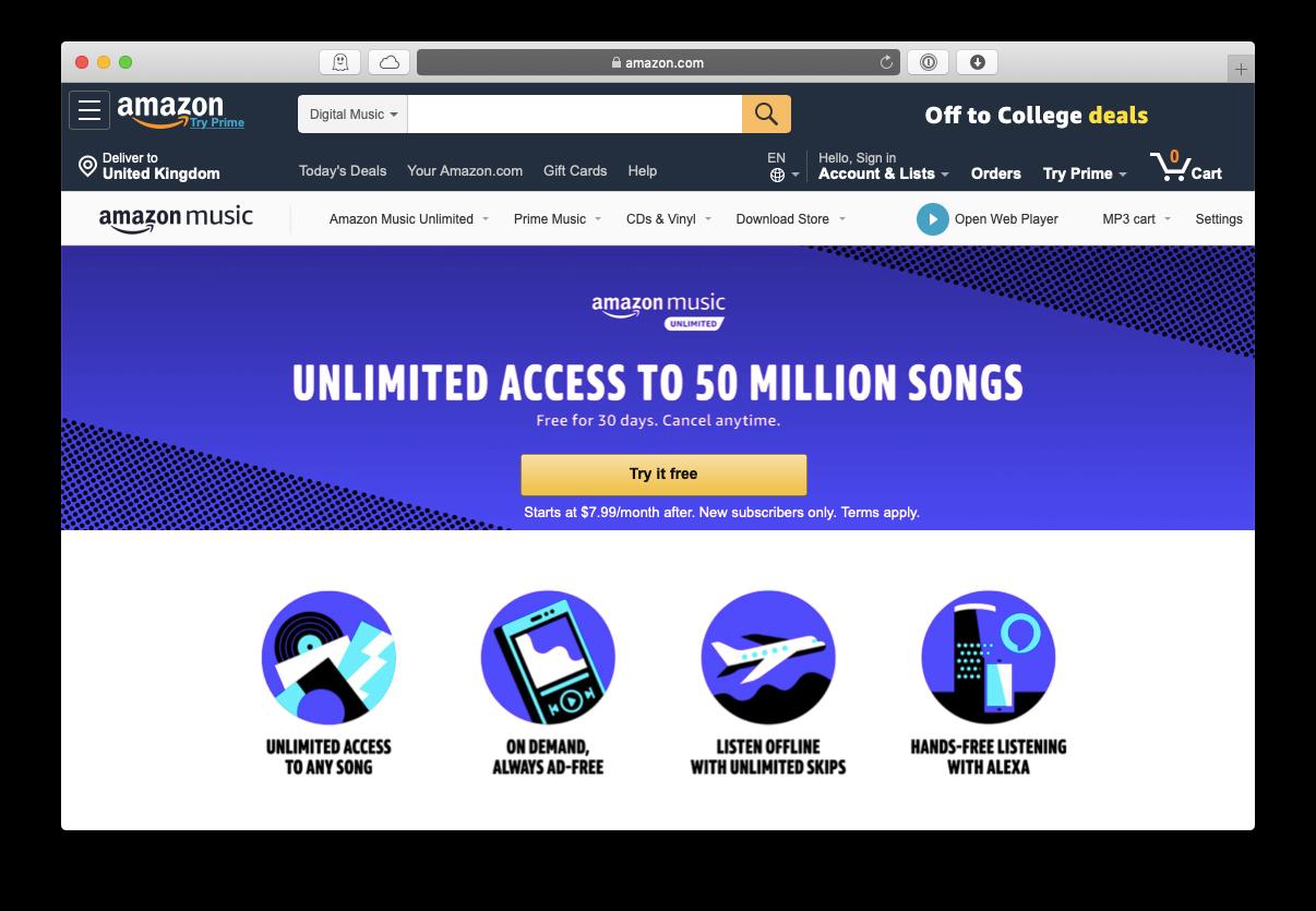 Amazon Music unlimited service