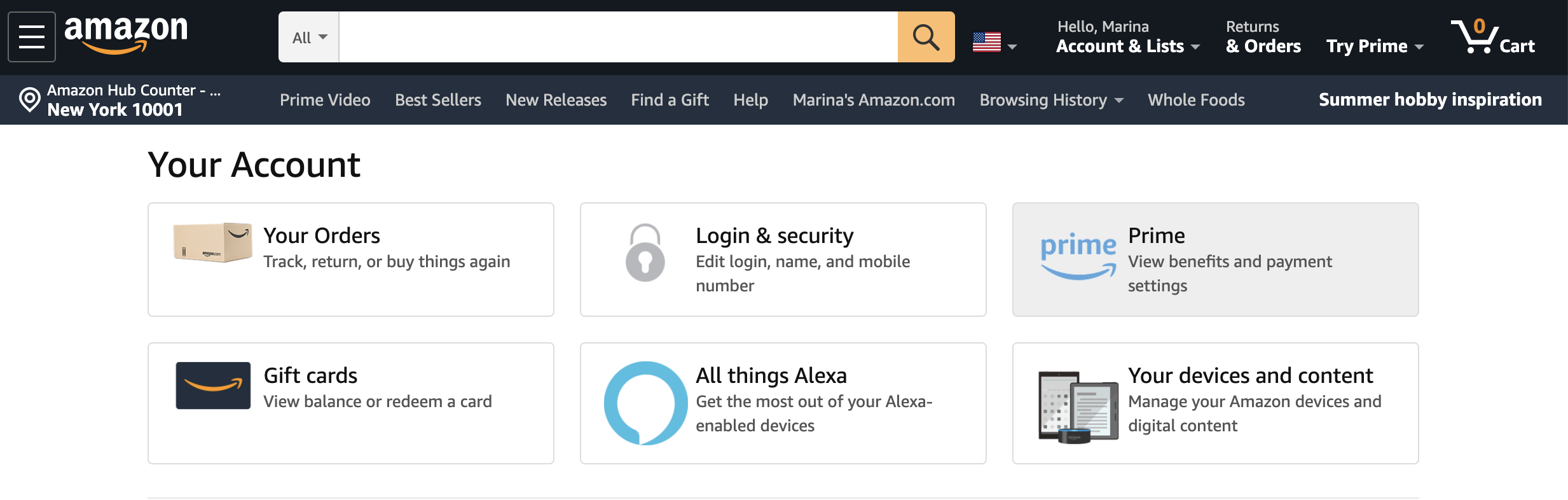 Delete Amazon Prime account