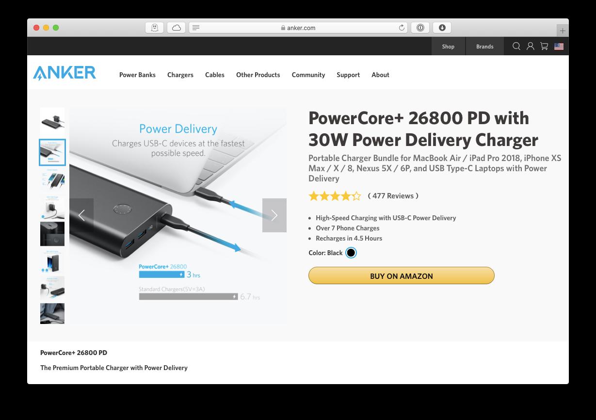 Anker PowerCore power bank Mac