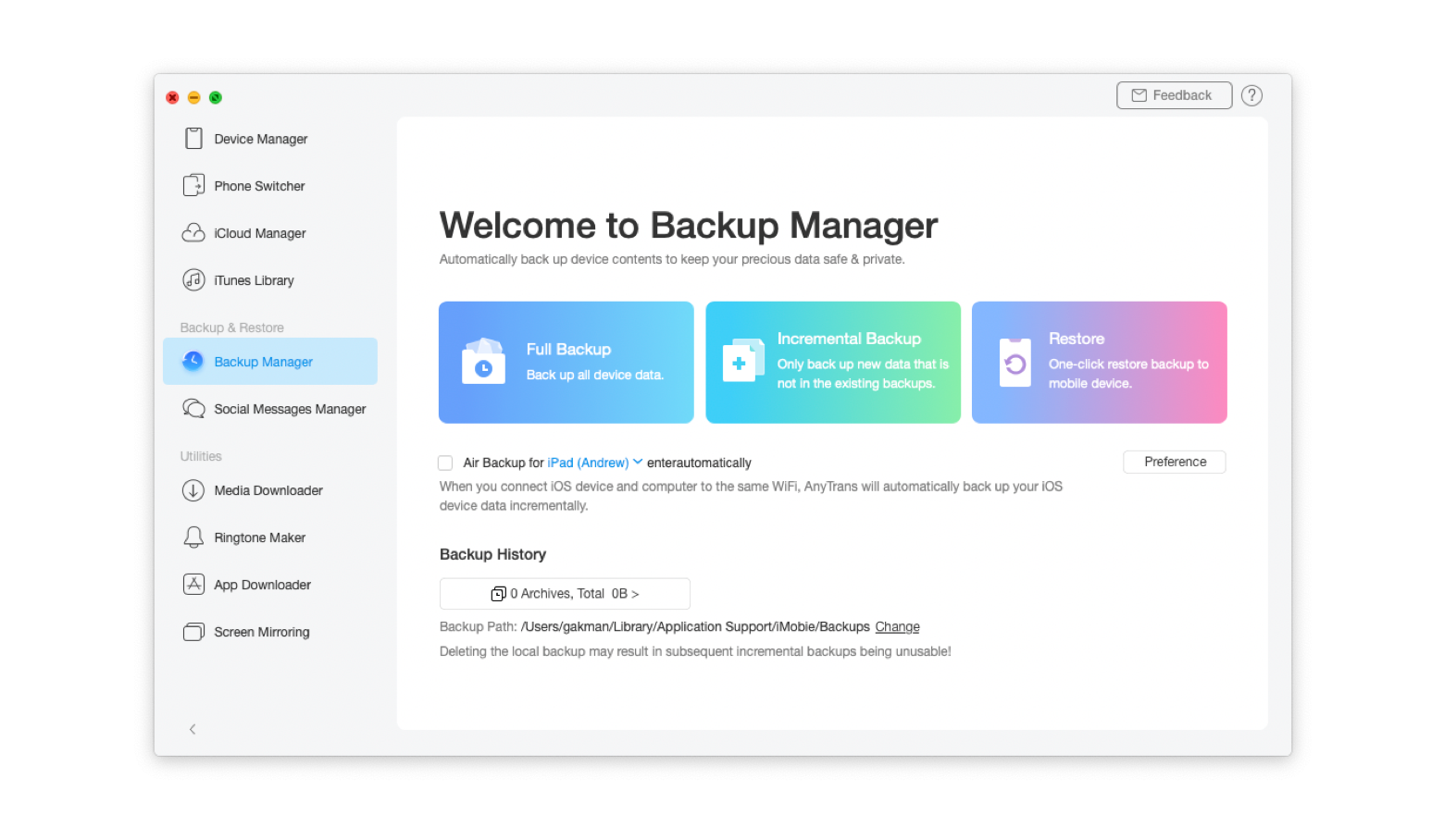 Choose what you want to backup - all data or only selected folders