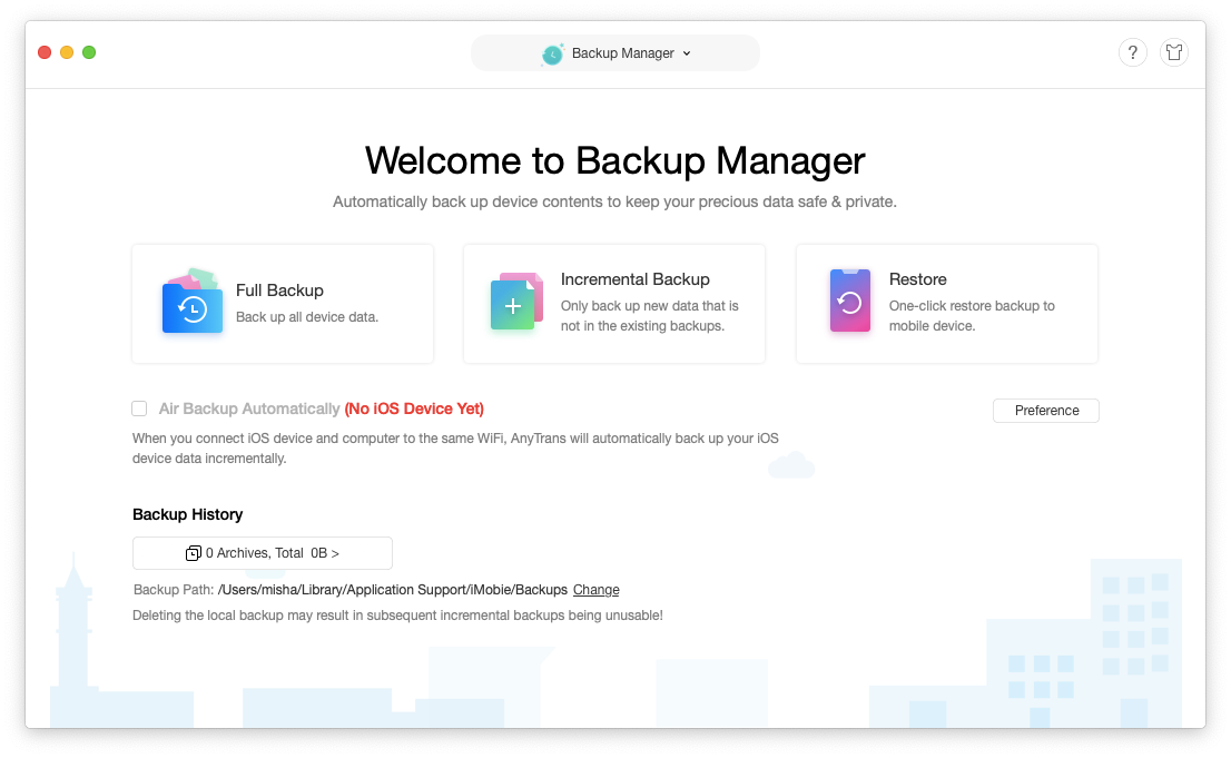AnyTrans iOS backup manager