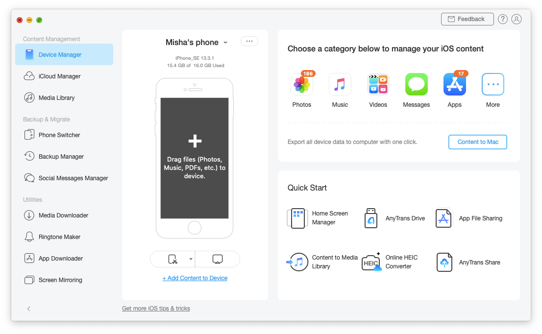 AnyTrans iOS Mac app photo transfer