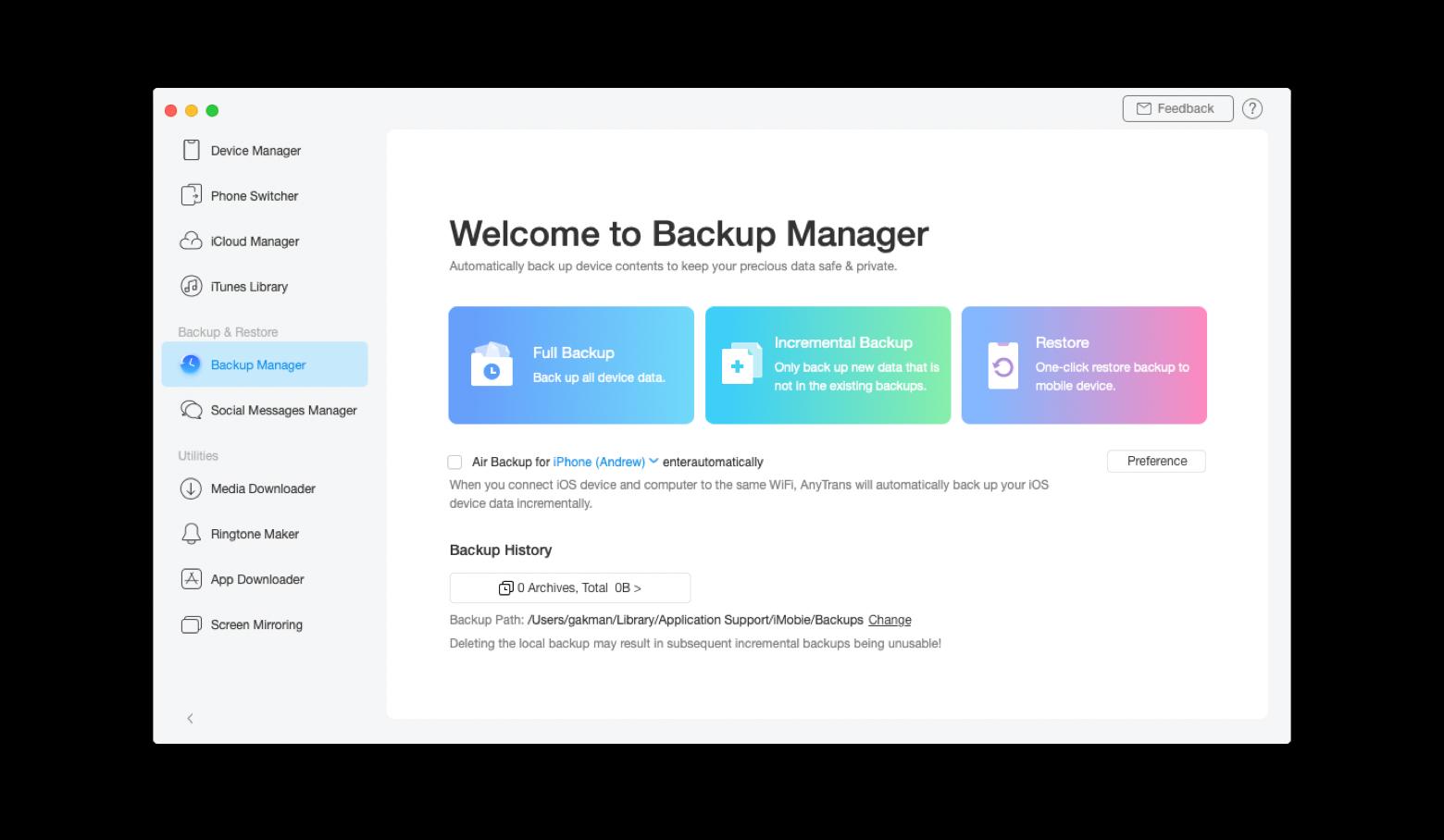 Backup iPhone to Mac