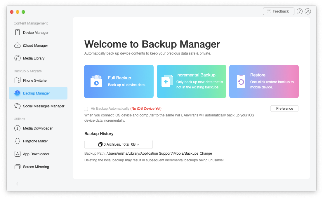AnyTrans iPhone iOS backup data Mac