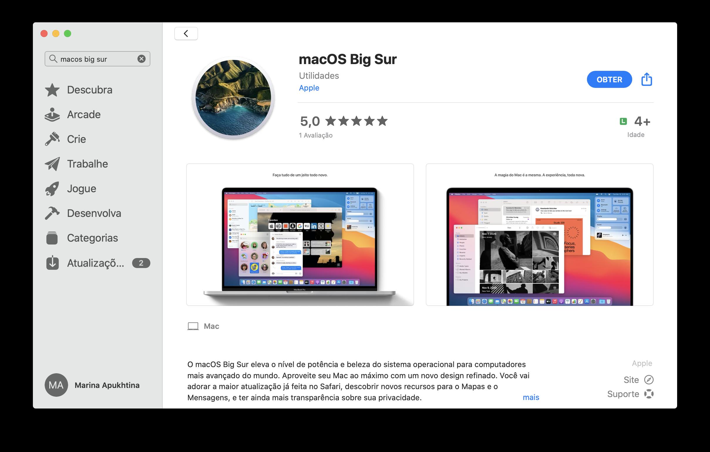 abrir la página de macOS Big Sur en App Store