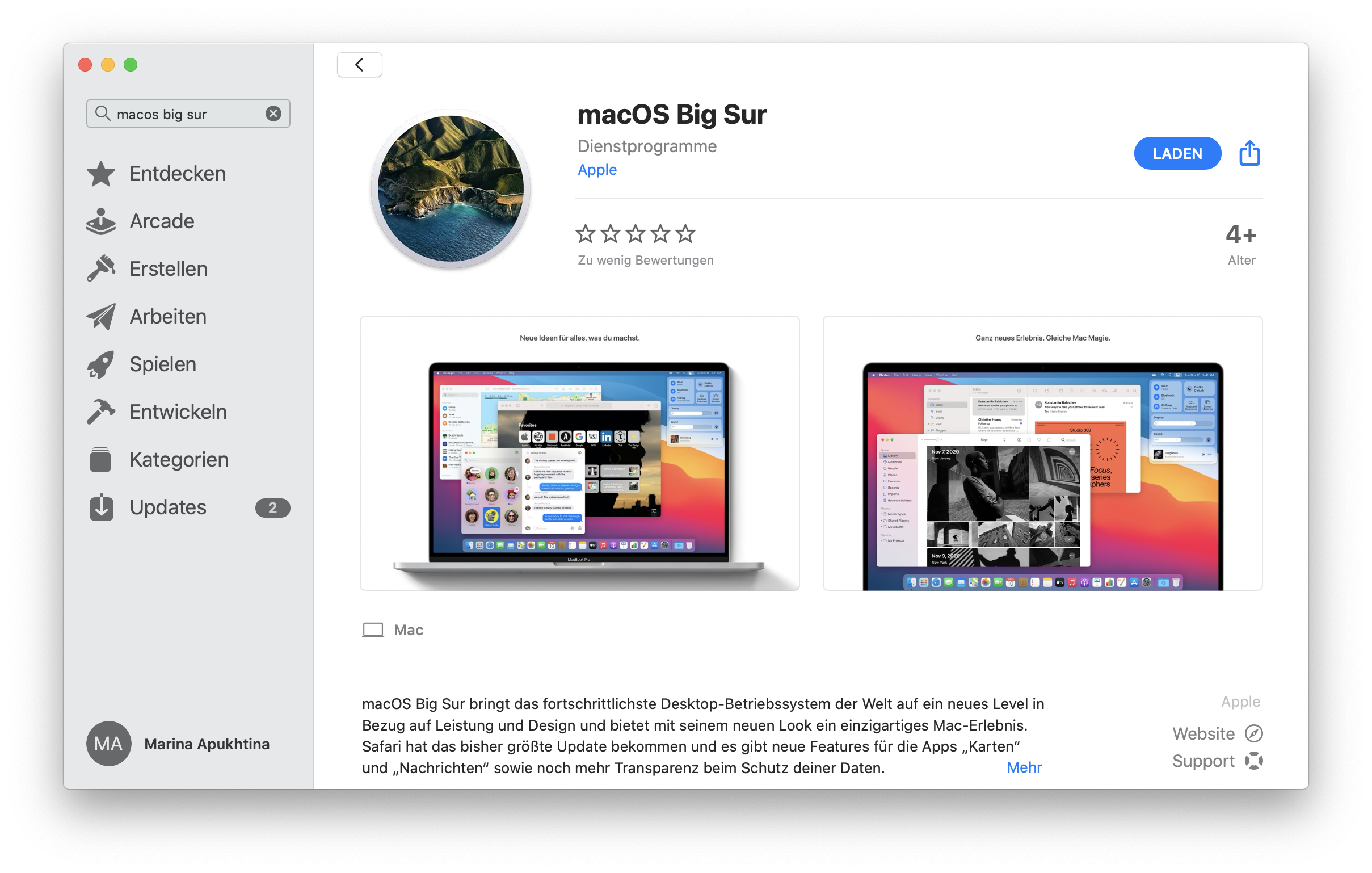 macOS 11 Big Sur in App Store