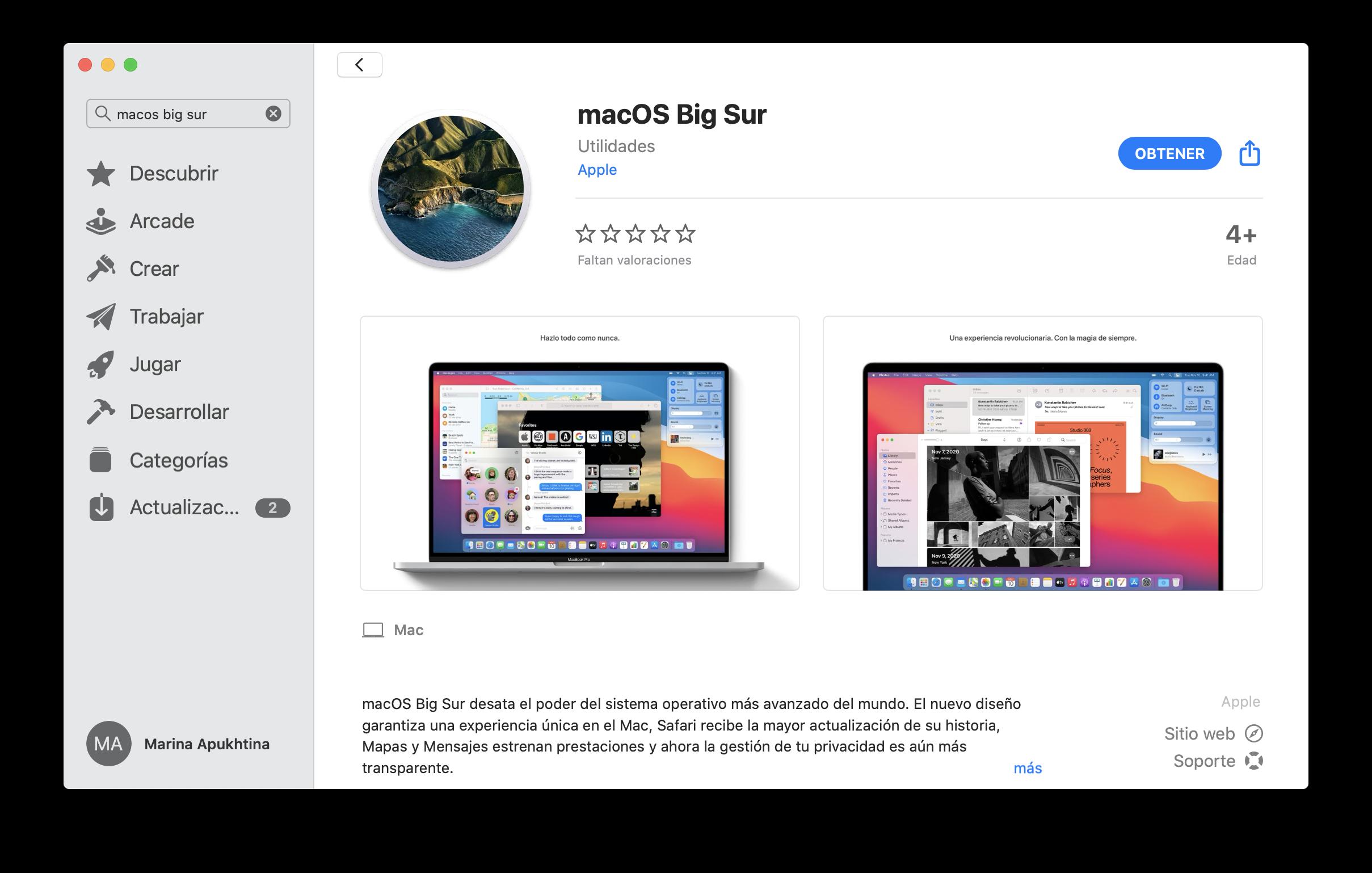 macOS Big Sur en App Store