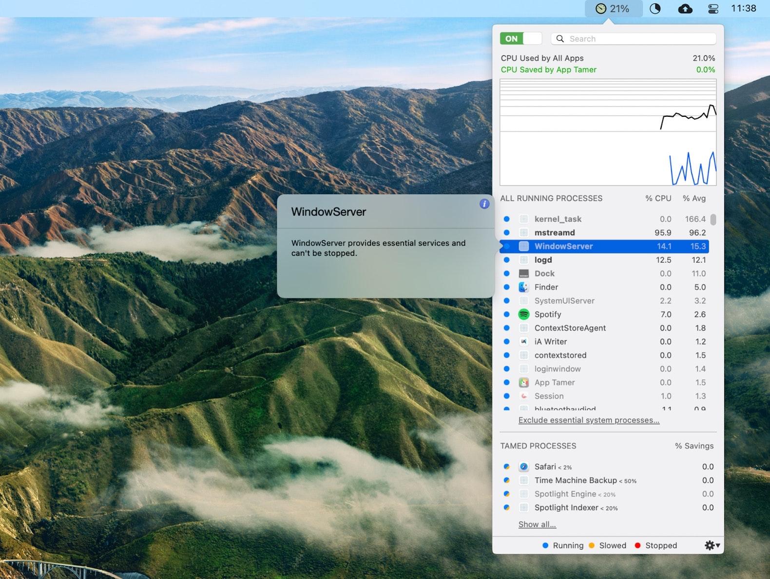 manage WindowServer process