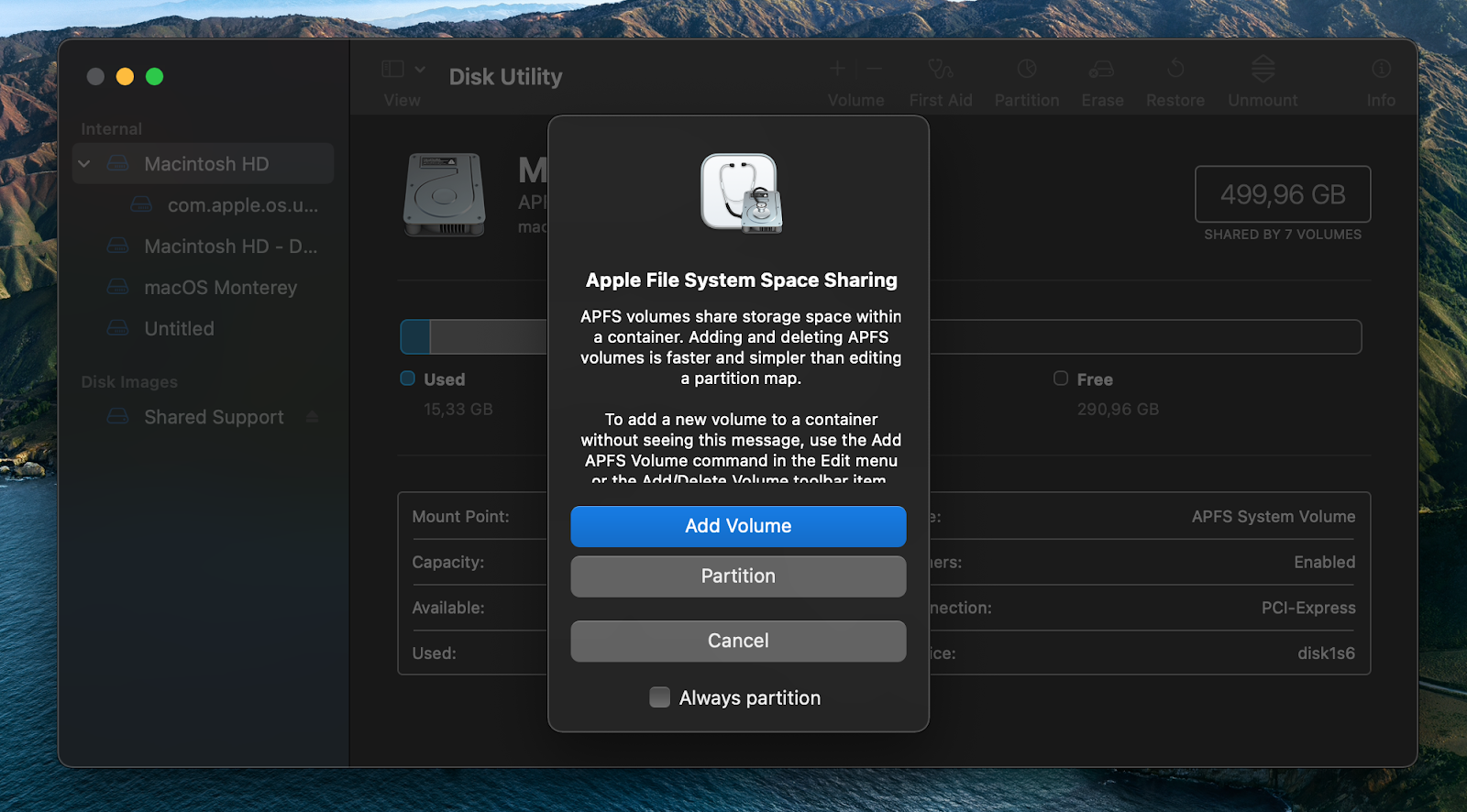 Add volume to Apple File System Space