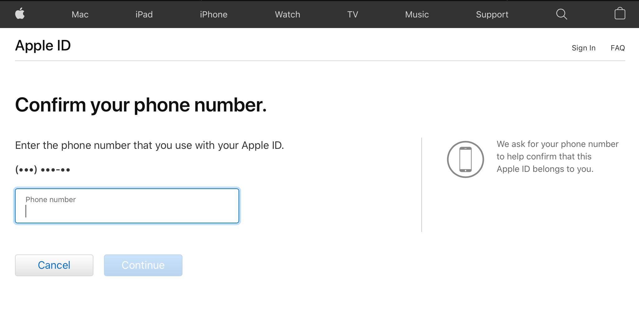 apple ID phone number