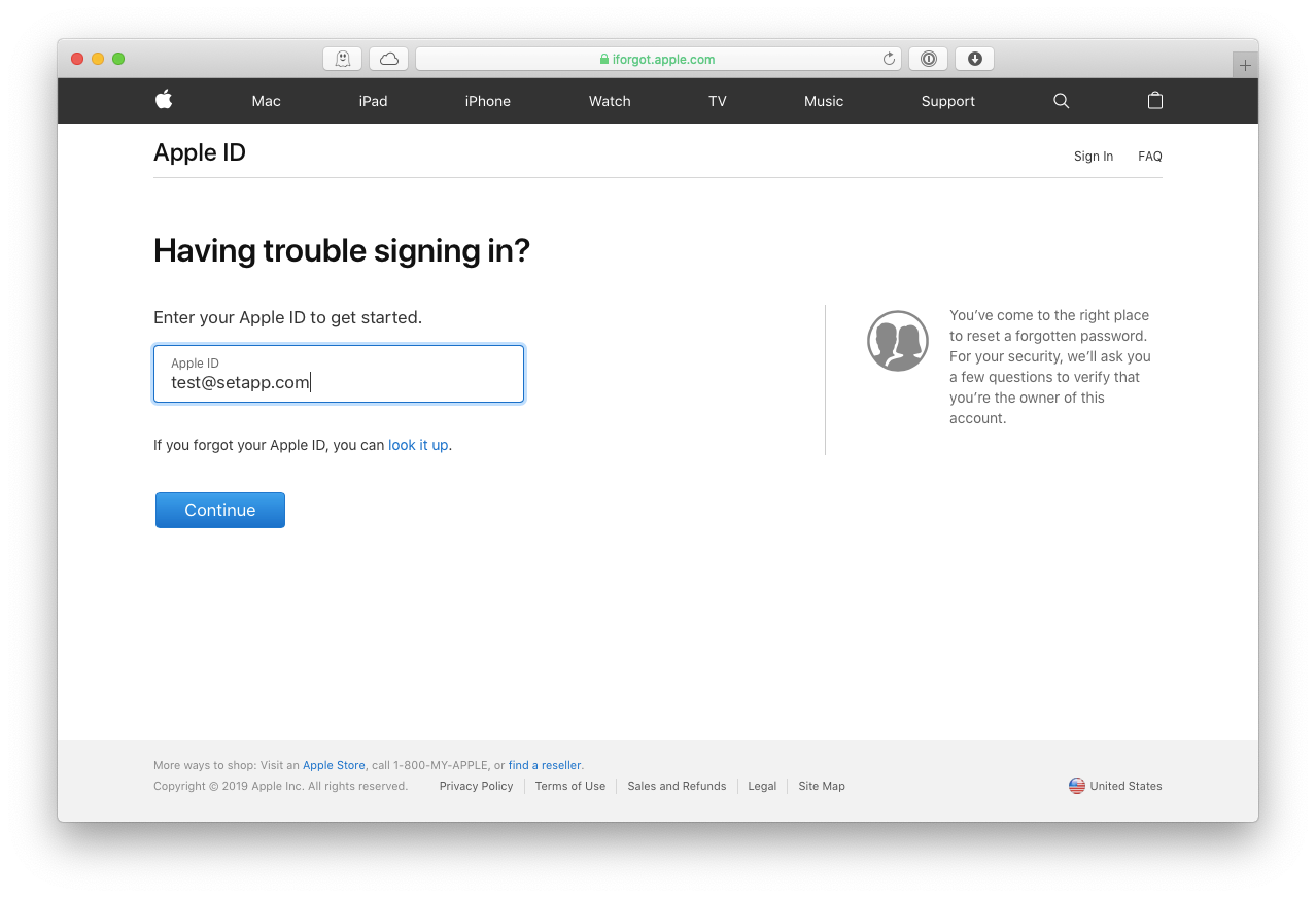 Apple ID forgot password Mac iPhone