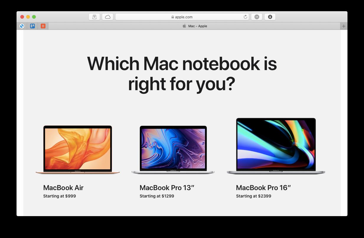 Apple laptop choice MacBook