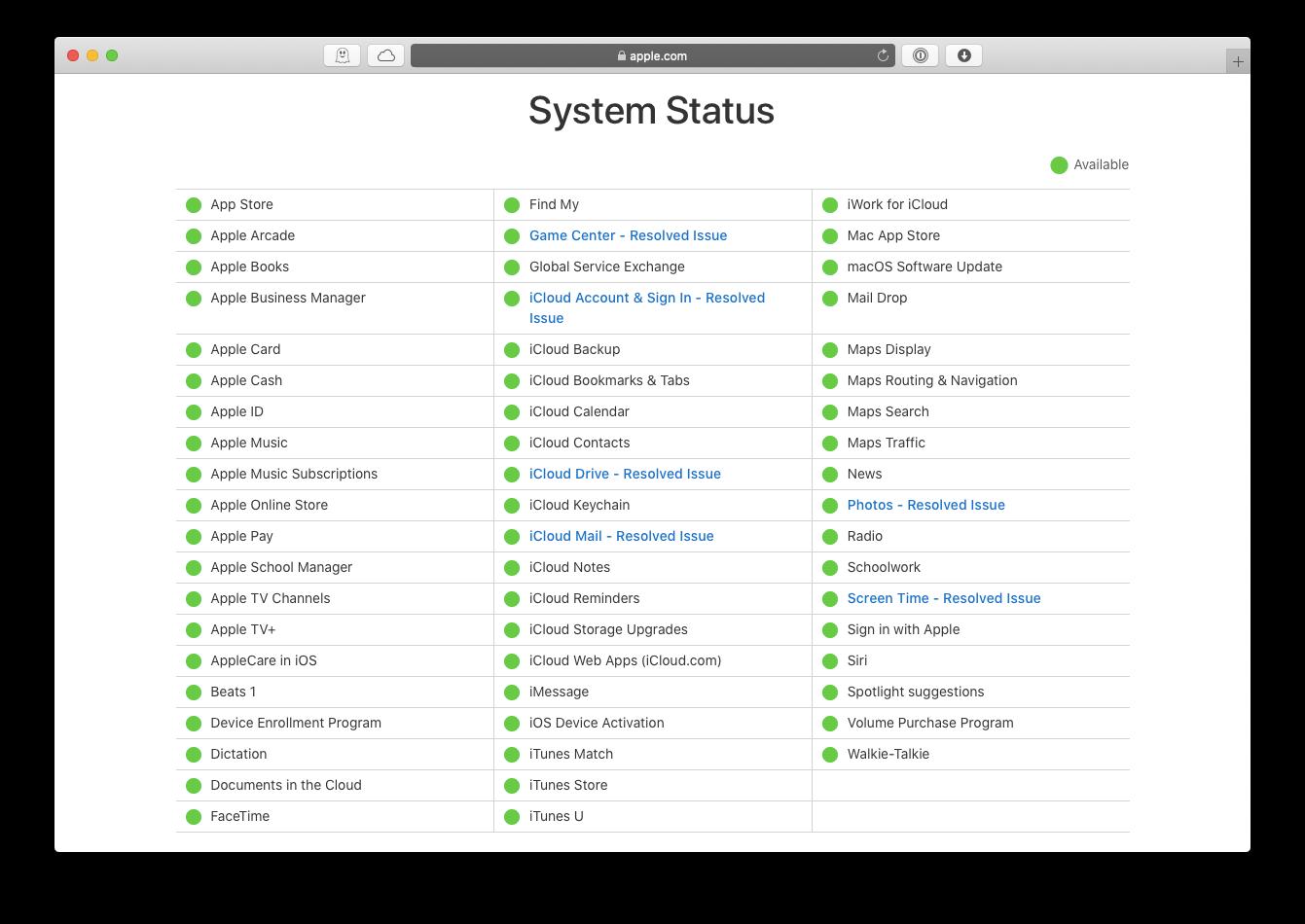 Apple server status Mac