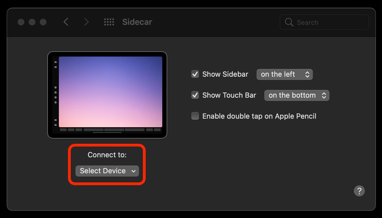 sidecar connect ipad