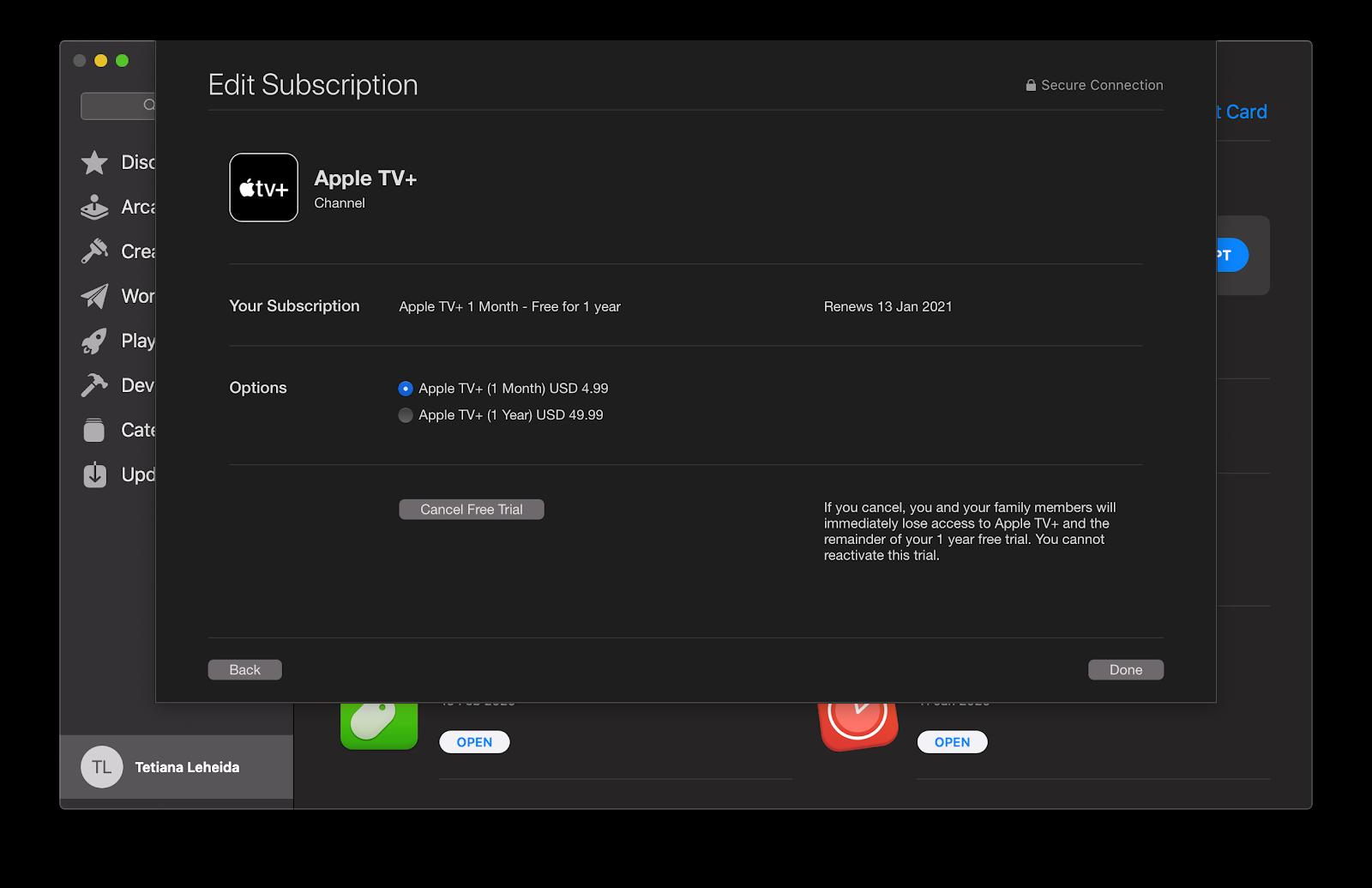 Apple TV+ subscription status