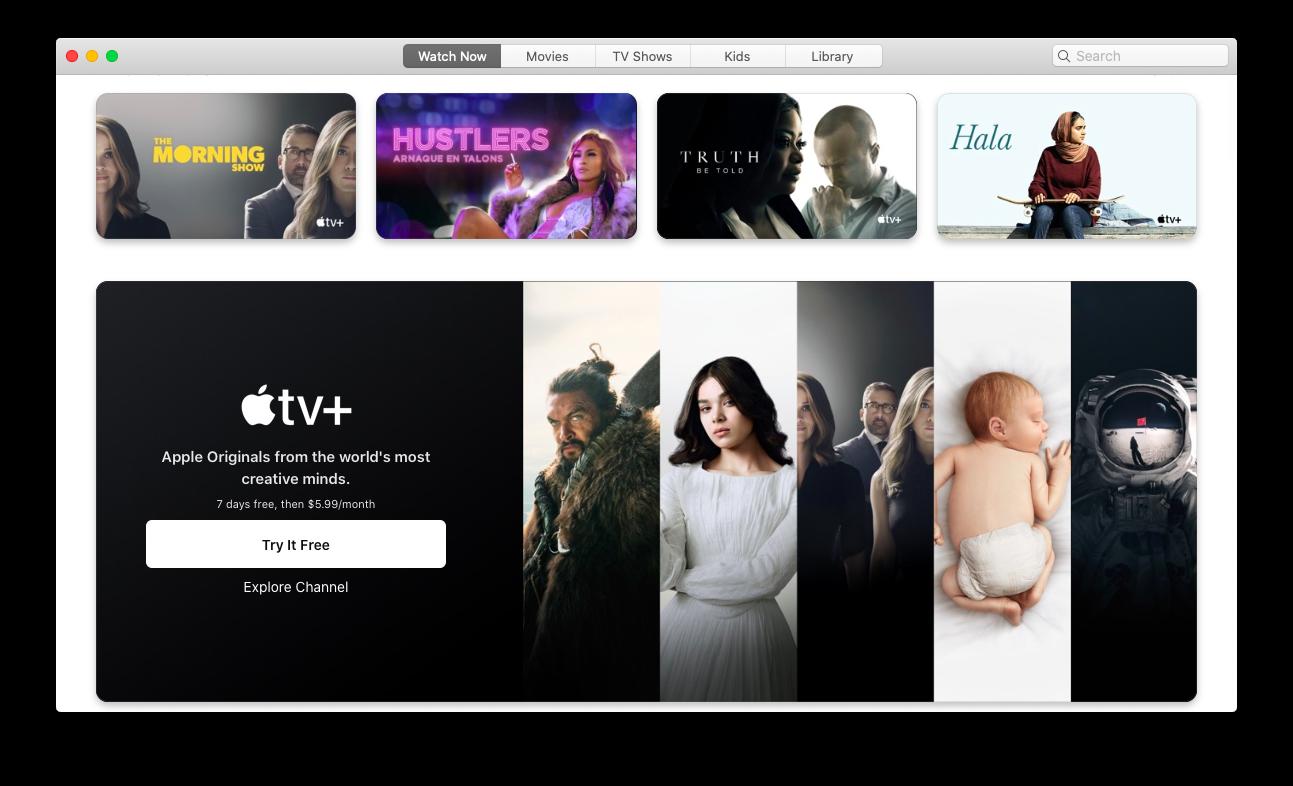 Apple TV's Watch Now screen