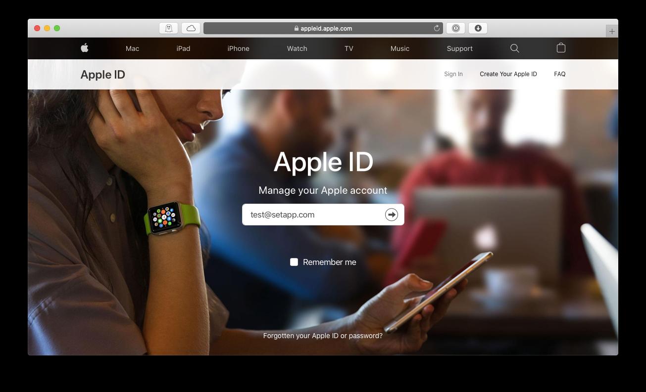 Appled ID change password Mac