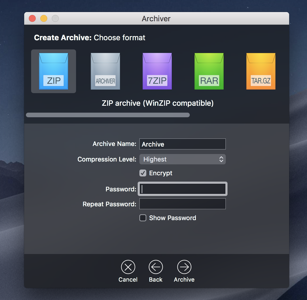 Enter a password in Archiver app