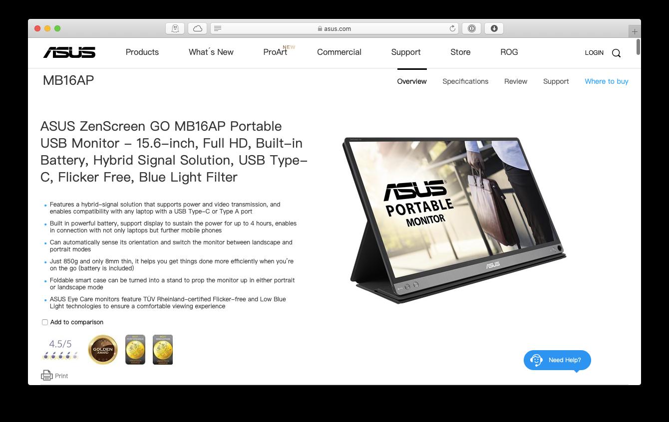 ASUS portable monitor zenscreen Mac USB