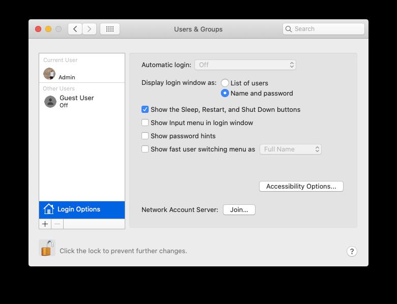 automatic login lock Mac