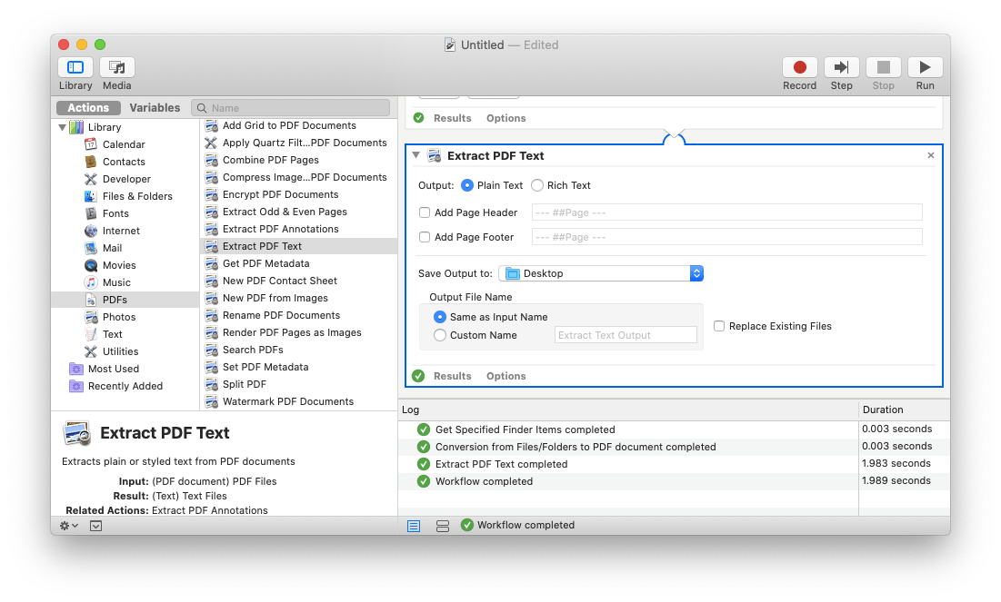 Automator extract text PDF Mac