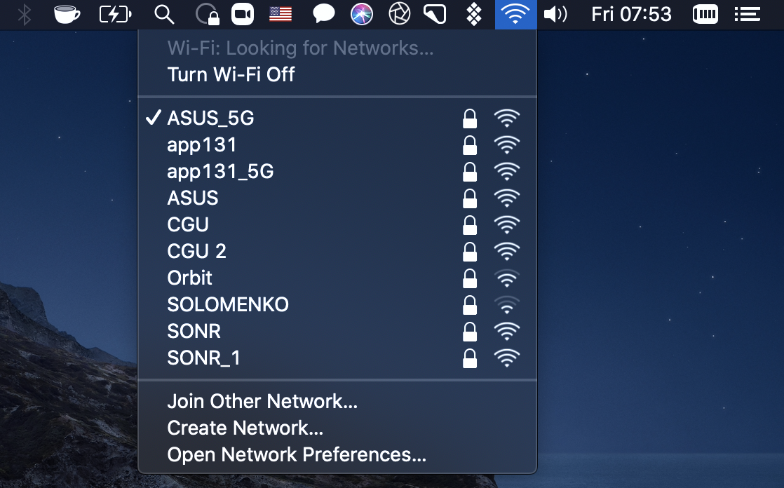 Check available wifi networks in menu bar