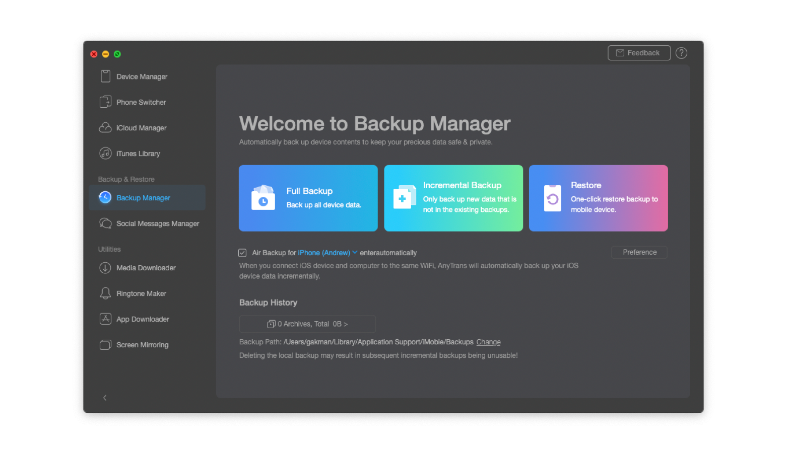 Backup manager on AnyTrans for iOS
