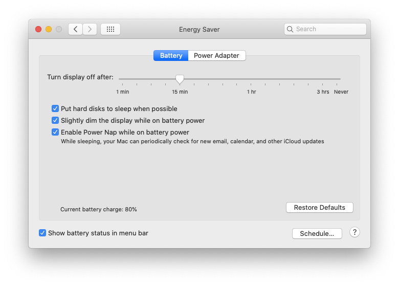battery settings MacBook
