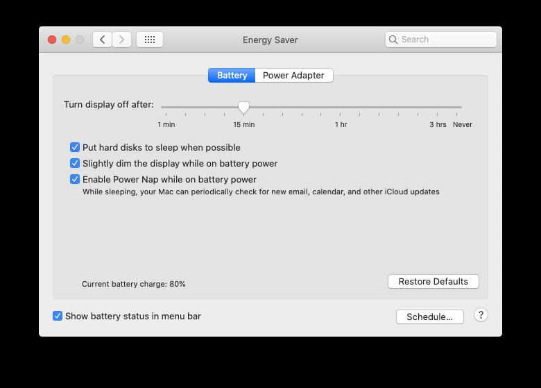 battery settings MacBook