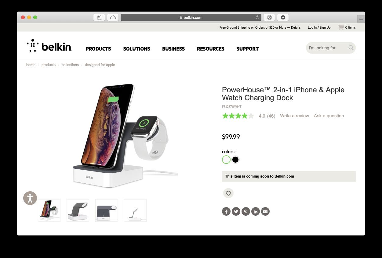 Belkin iPhone Apple Watch dock