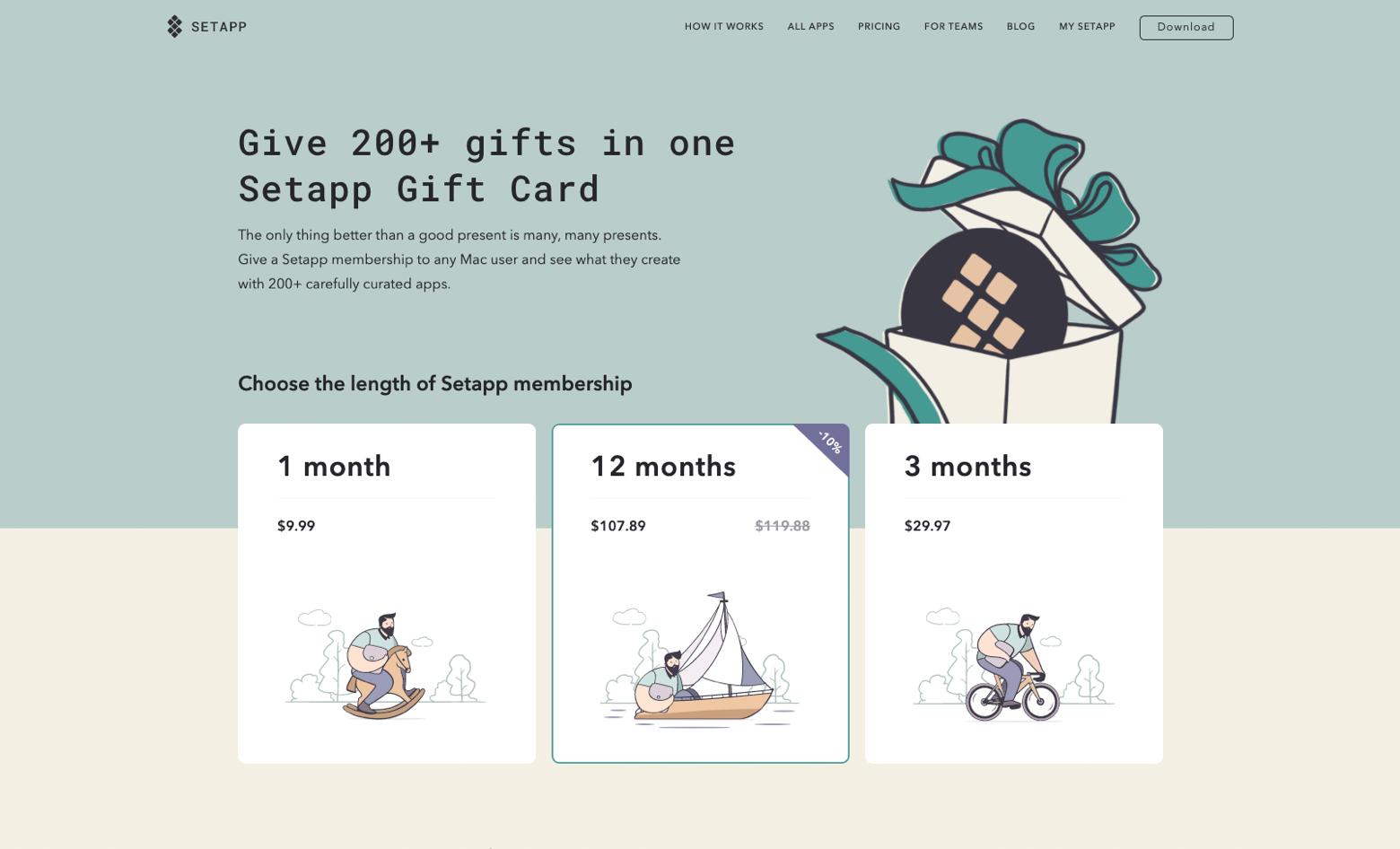 Setapp gift card store