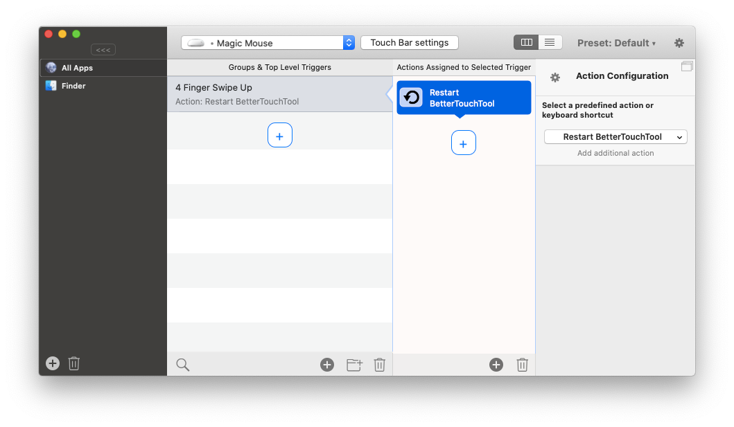 BetterTouchTool custom gestures shortcuts app Mac