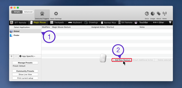 Create custom gestures with BetterTouchTool