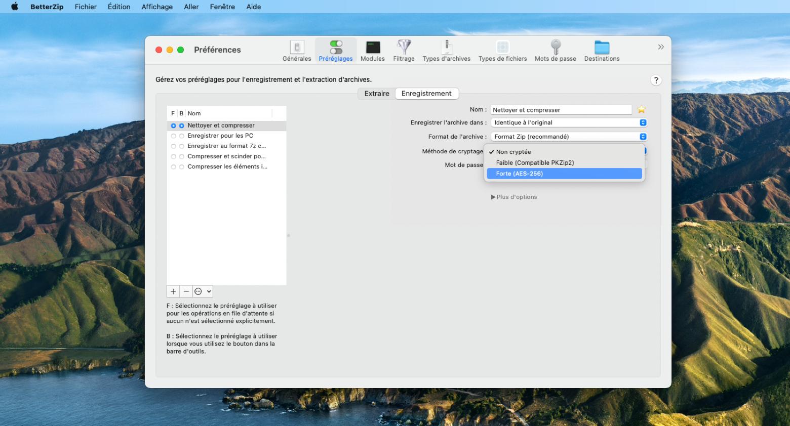 Chiffrez des fichiers zip avec l'application BetterZip