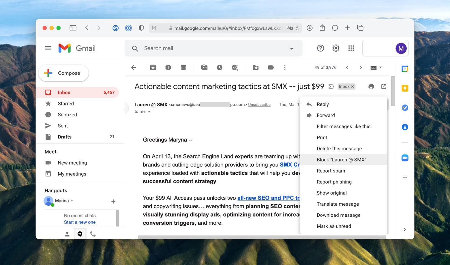 block a sender on Gmail