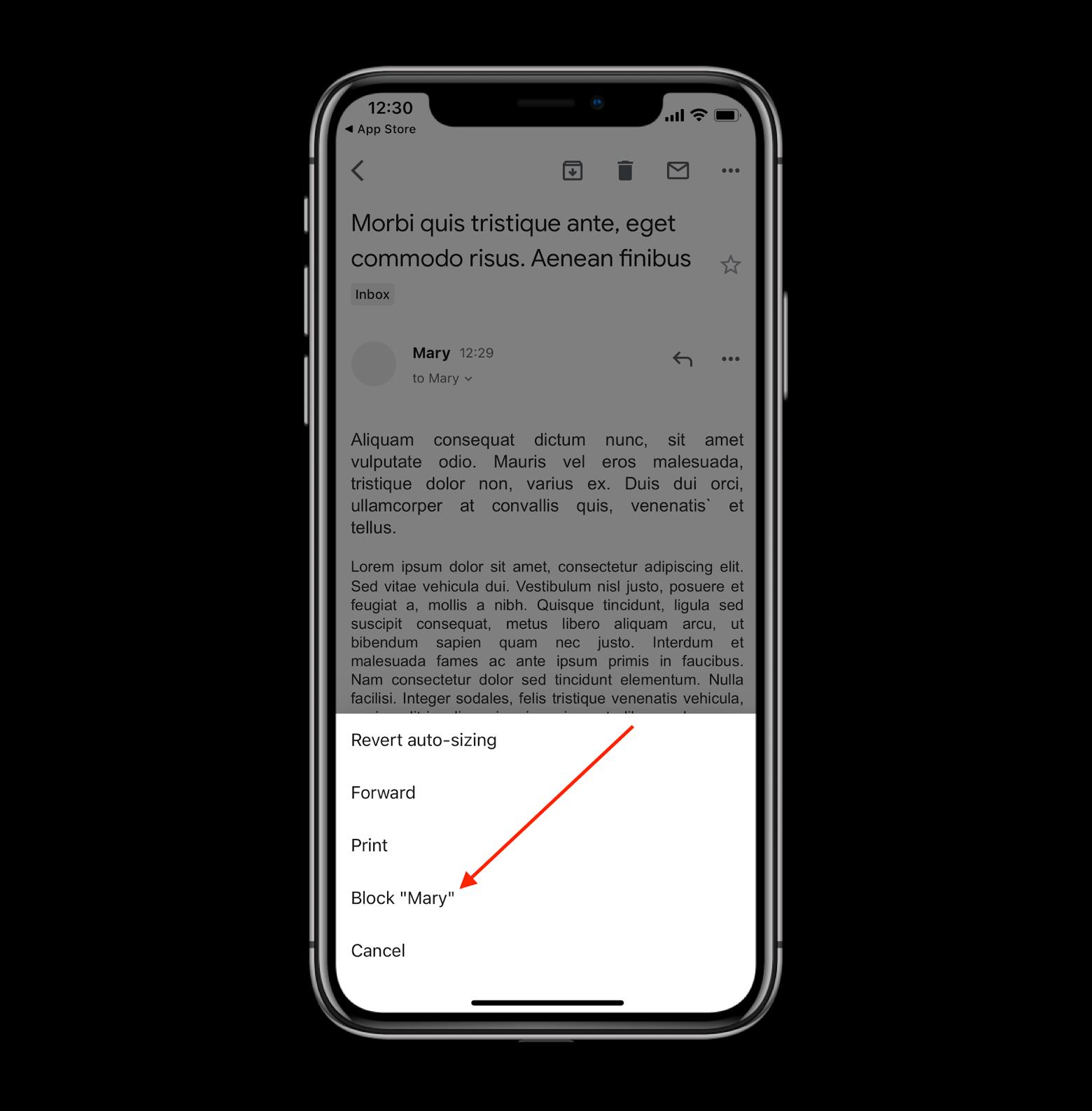 Block a contact via Gmail iOS app