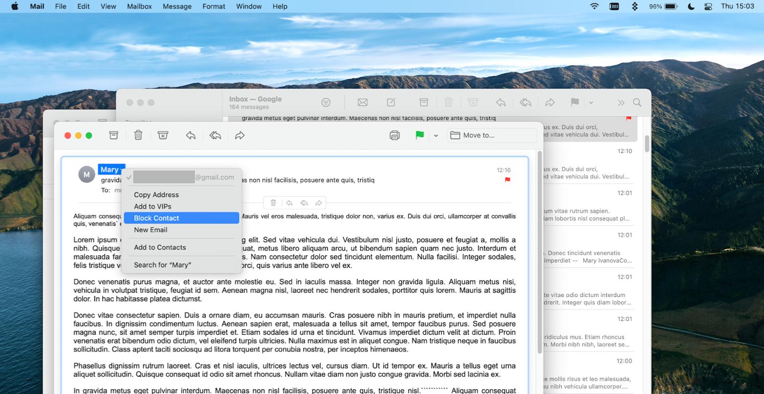 block sender via Mail app