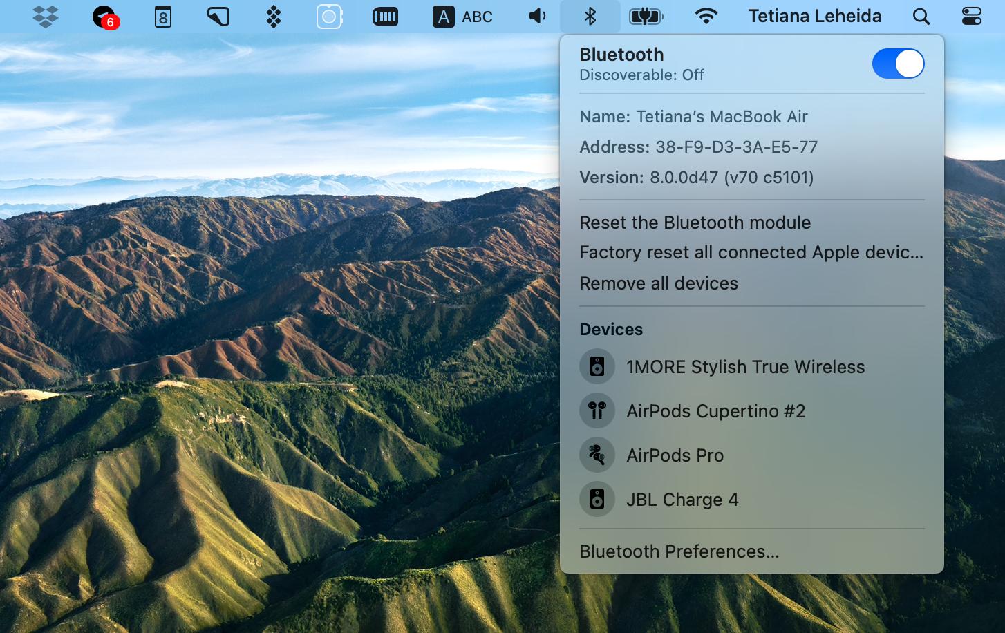 Bluetooth tab on macOS Big Sur