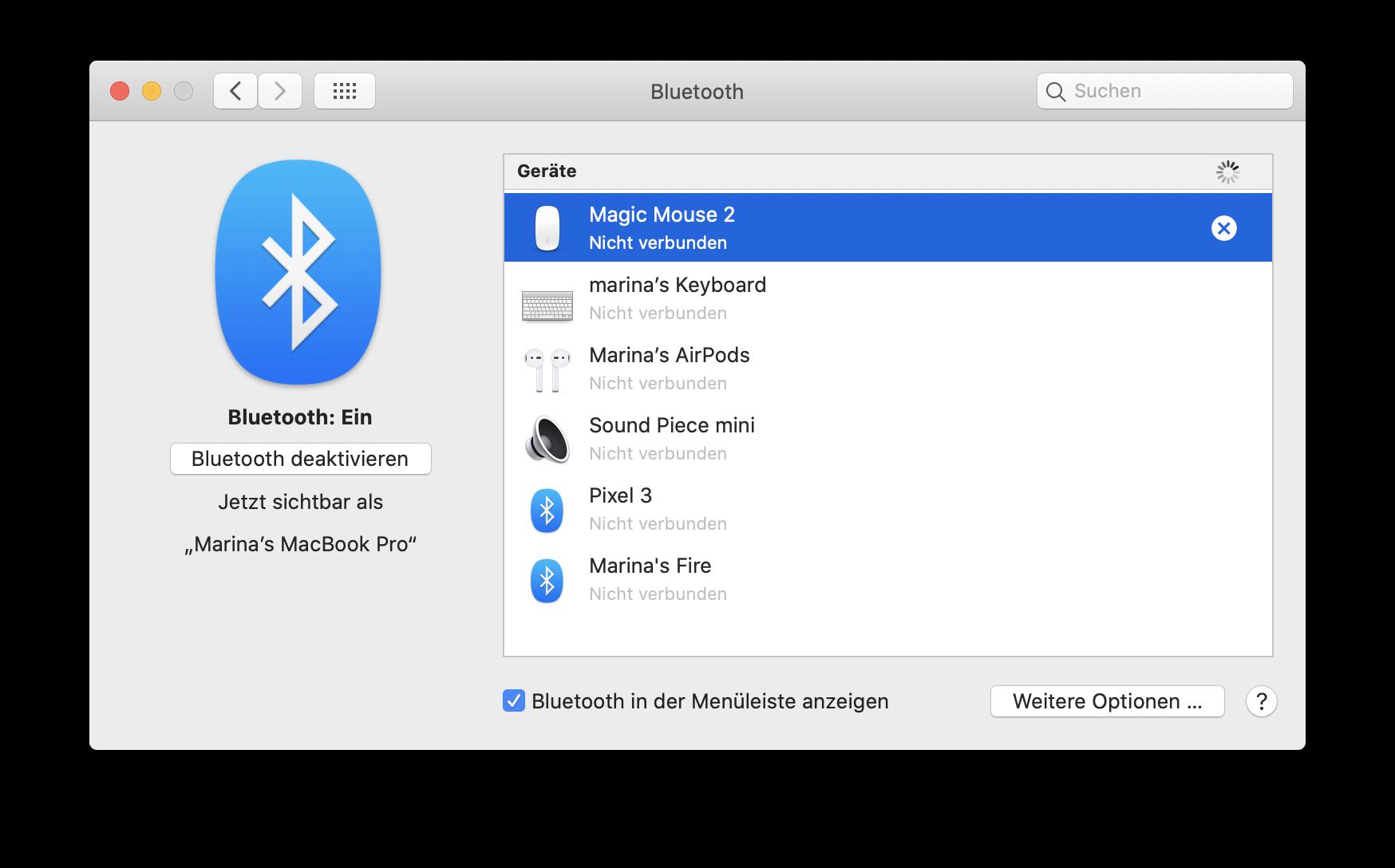 Bluetooth auf Mac einschalten