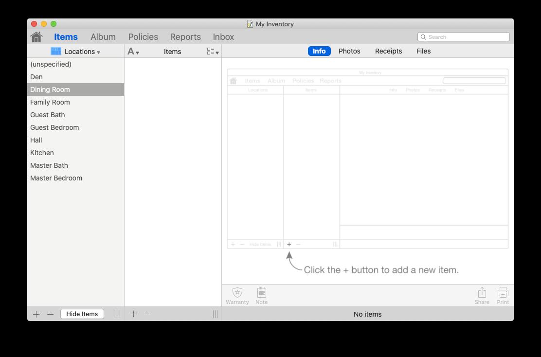 Home Inventory app Mac