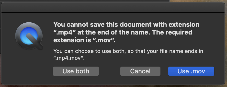 Cannot save mov to mp4 error