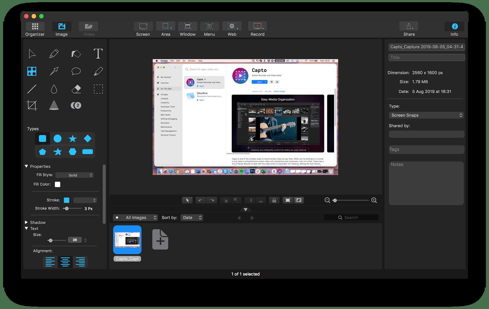 capto screenshot editing mac